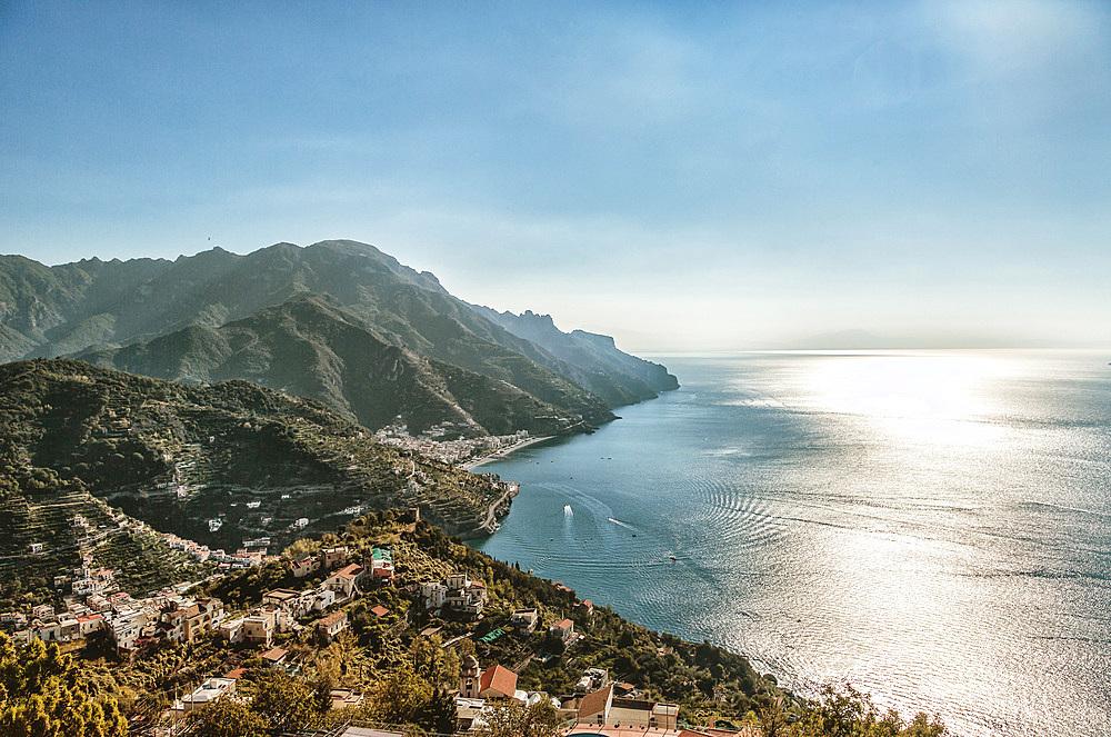 Amalfi Coast view from Ravello, Campania, Italy, Europe