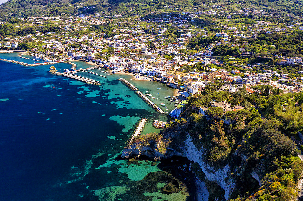 Aerial view, Il Fungo (mushroom) sea rock, Lacco Ameno, Ischia, Campania, Italy, Europe