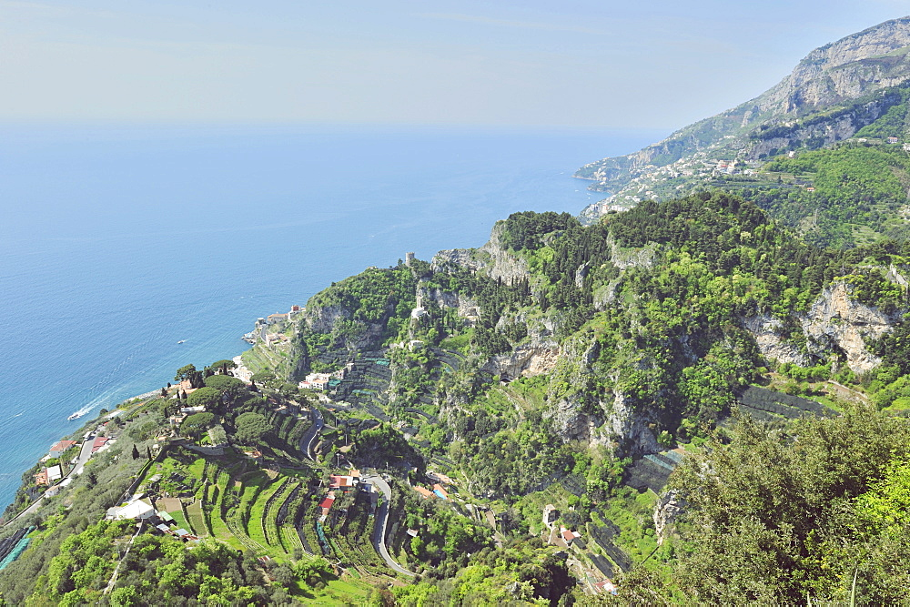 View of the Amalfi Coast photographed by one of the villa terraces. The direction is Positano, toward the Gulf of Naples, Ravello, Campania, Italy, Europe