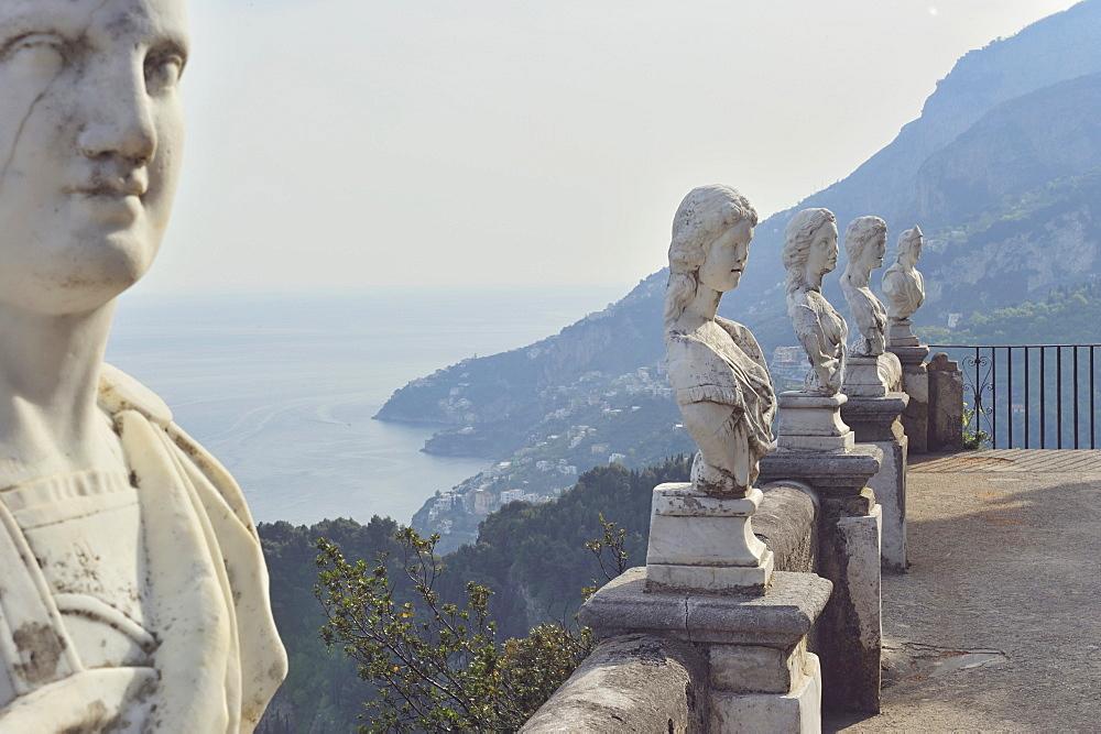 Detail of a statue, Terrace of Infinity, Ravello, Amalfi Coast, Campania, Italy, Europe