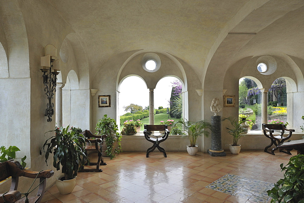 The main entrance of the Hotel Villa Cimbrone where the conciergerie is located. Ravello, Amalfitan Coast, Campania, Italy.