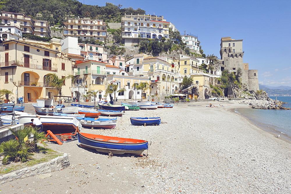 Cetara photographed from the marina, Cetara, Amalfi Coast, Campania, Italy, Europe