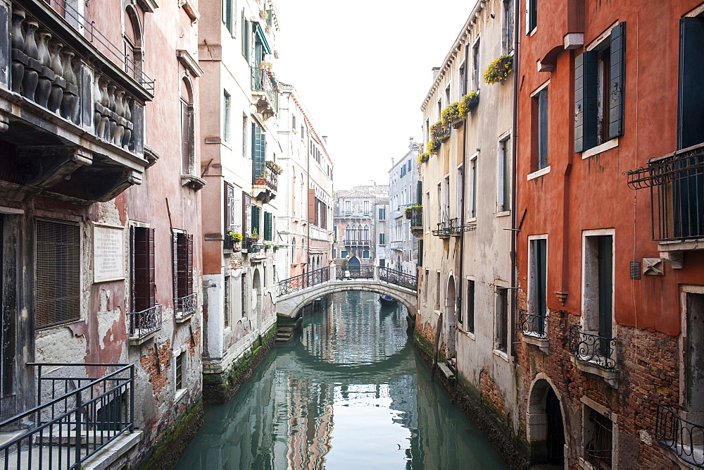 A view over the canal in winter time, Venice, Veneto, Italy, Europe