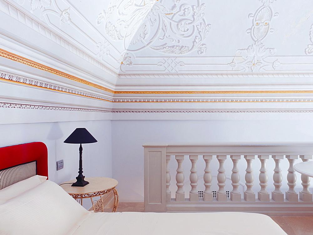 One of the rooms of Palazzo Gattini a luxury hotel located in Piazza del Duomo in Matera, Basilicata, Italy, Europe