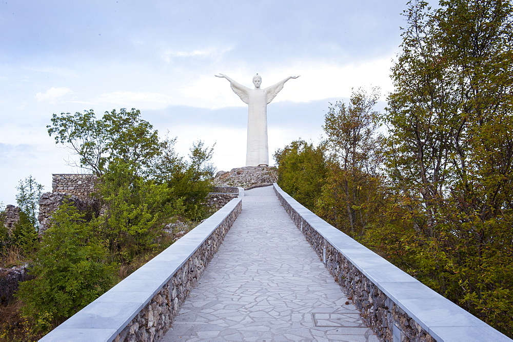 Statua del Cristo Redentore, Christ the Redeemer statue, Mount San Biagio, Maratea, Basilicata, Italy, Europe