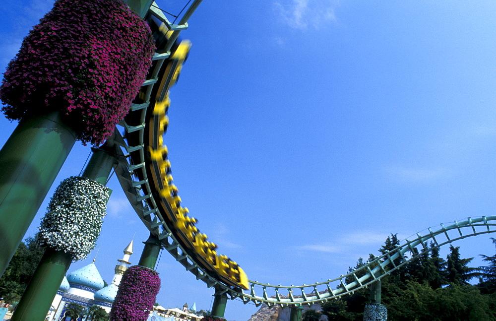 Magic Mountain roller coaster, Gardaland amusement park, Castelnuovo del Garda, Veneto, Italy