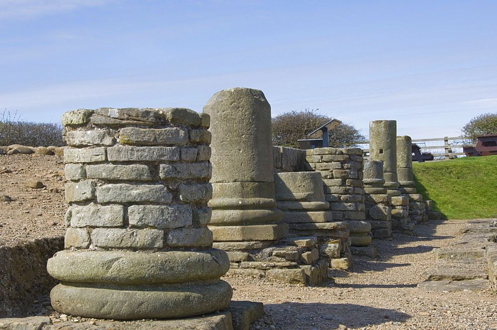 Column bases at the entrance to the granary, the Roman town at Corbridge, Hadrians Wall area, UNESCO World Heritage Site, Northumbria, England, United Kingdom, Europe