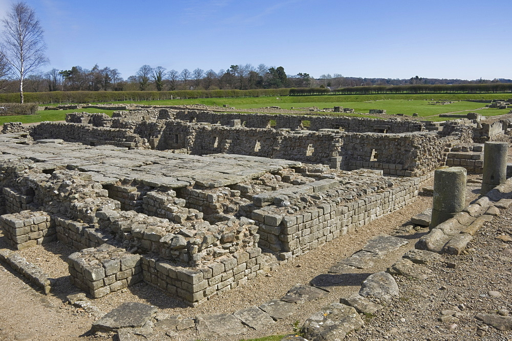 The floor of the Granary showing the underfloor hypocaust heating system, in the Roman Town at Corbridge, Hadrians Wall area, UNESCO World Heritage Site, Northumbria, England, United Kingdom, Europe