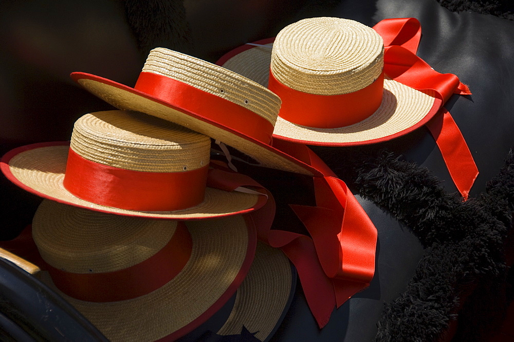 Gondoliers straw hats, Venice, Italy, Europe - 747-1151