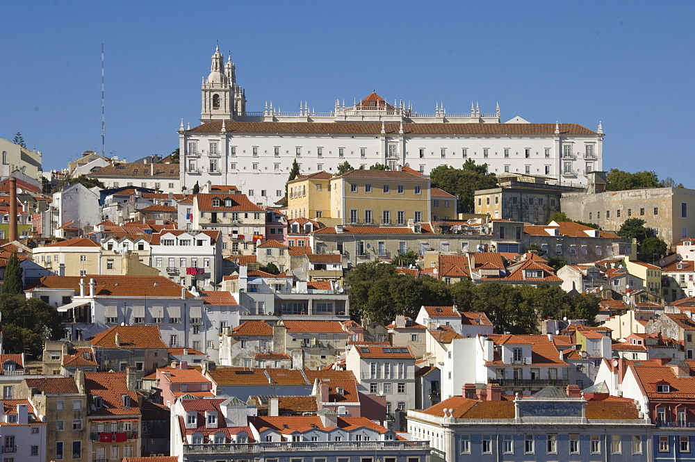 The Alfama district with the Sao Vicente de Fora Monastery, Lisbon, Portugal, Europe