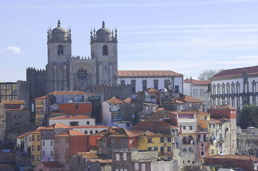 The Cathedral (Terreiro da Se) overlooks a part of old Oporto, Portugal, Europe