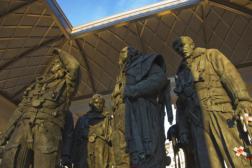 Interior of the Monument to the Royal Air Force Bomber Command showing the sculpted WWII bomber crew group, Piccadilly, London, England, United Kingdom, Europe
