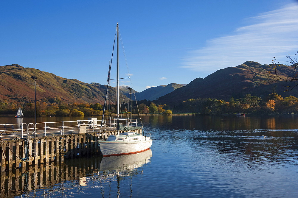 Autumn, head of Lake Ullswater, by the Lake Steamer Dock, Lake District National Park, Cumbria, England, United Kingdom, Europe