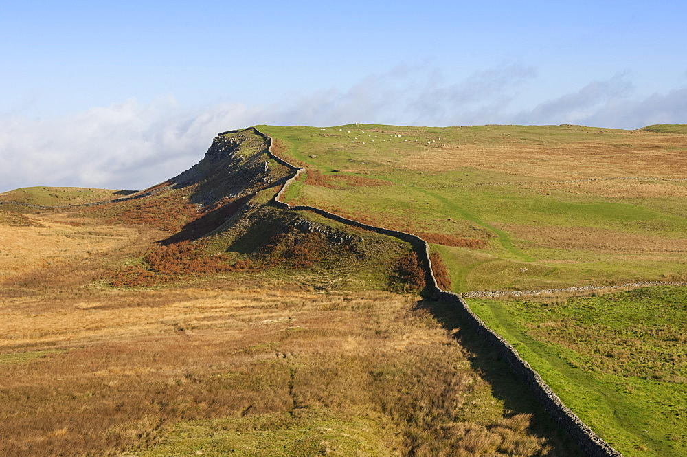 East to the Trig Point on Sewingshields Crags, Hadrians Wall, National Heritage Site, UNESCO World Heritage Site, Northumbria, England, United Kingdom, Europe