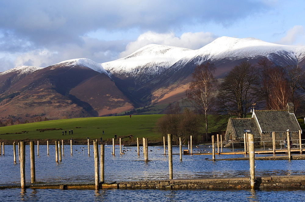 Lake Derwentwater and Skiddaw, Keswick, Lake District National Park, Cumbria, England, United Kingdom, Europe