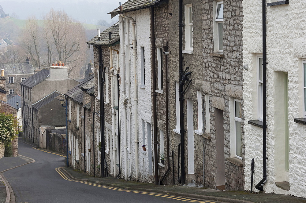 Original cottages in Captain French Lane, old Kendal, South Lakeland, {Westmorland}, Cumbria, England, United Kingdom, Europe
