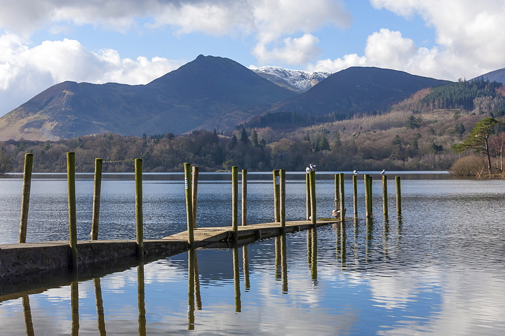 Lake Derwentwater, Barrow and Causey Pike, from the boat landings at Keswick, North Lakeland, Lake District National Park, Keswick, Cumbria, England, United Kingdom, Europe
