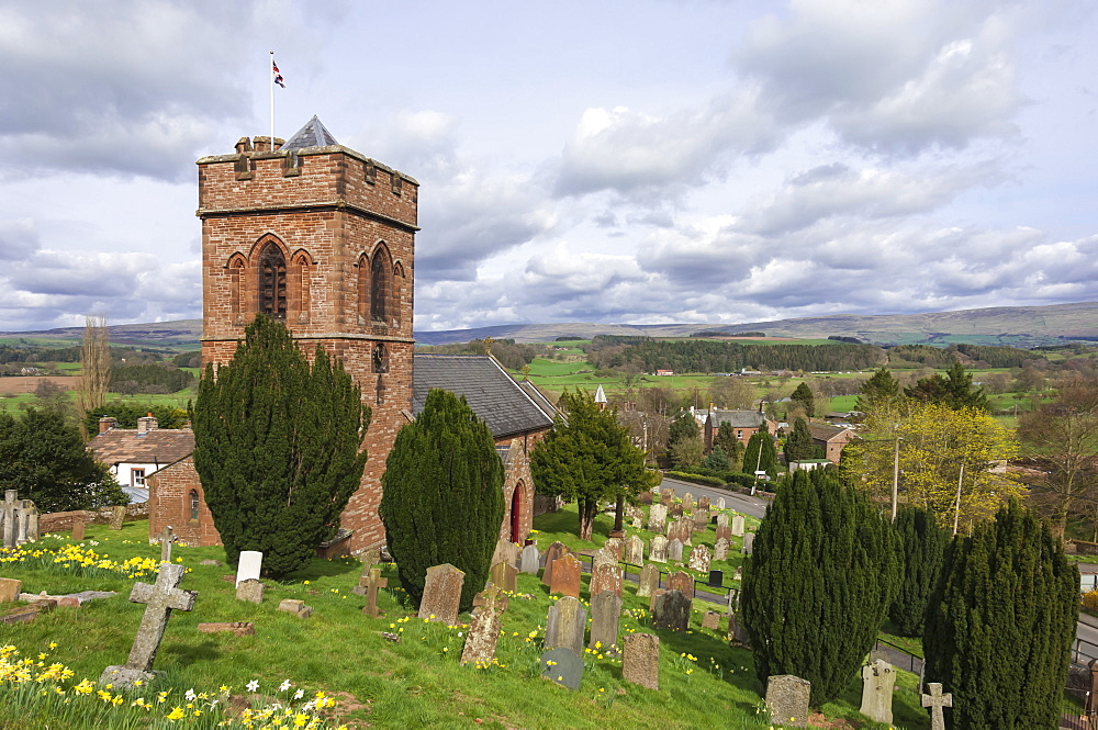 St. Nicholas Church, mid 19th century, Crucifixion Window by Mayer of Munich, Lazonby Village, Pennine Ridge beyond, Eden Valley, Cumbria, England, United Kingdom, Europe