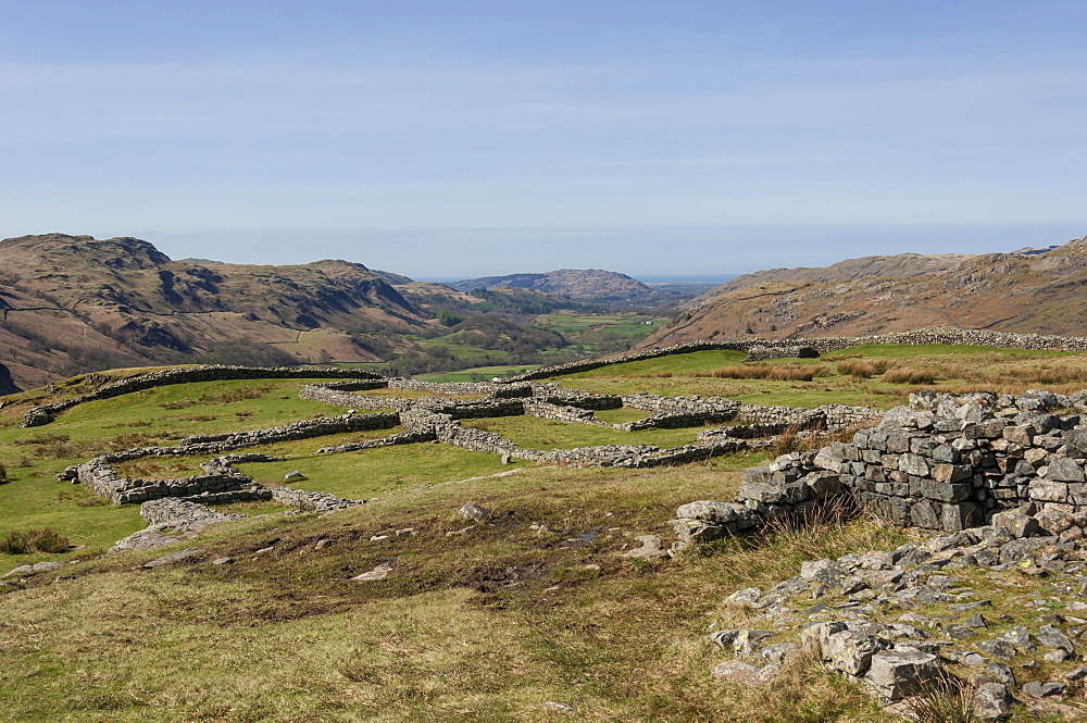 Hardknott Roman Fort interior looking west along the Eskdale Valley to the Solway Firth, South Lakes, Lake District National Park, Cumbria, England, United Kingdom, Europe