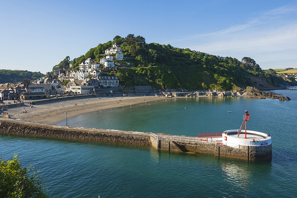 Pier and lighthouse, the Beach, Looe, Cornwall, England, United Kingdom, Europe