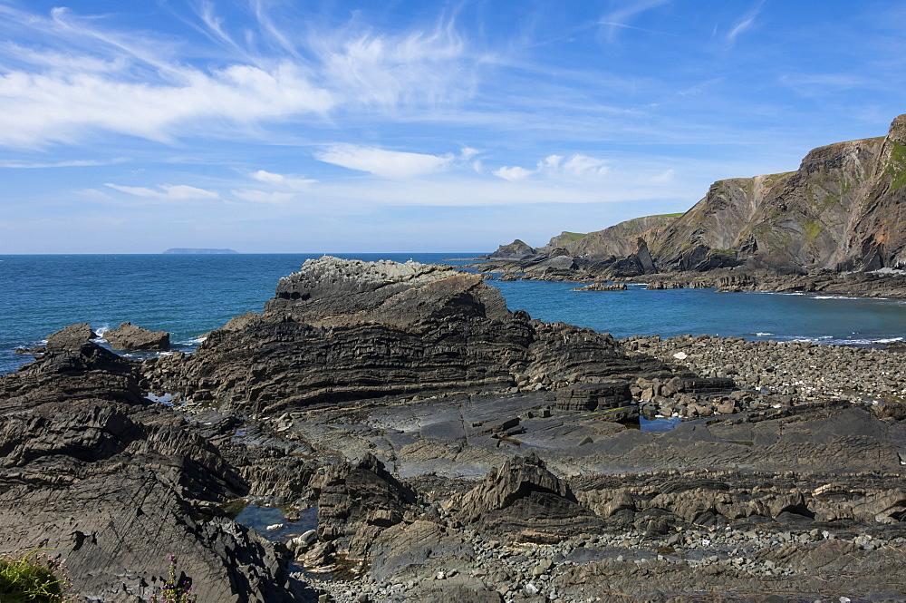 Rock outcrops at Hartland Quay, North Cornwall, England, United Kingdom, Europe