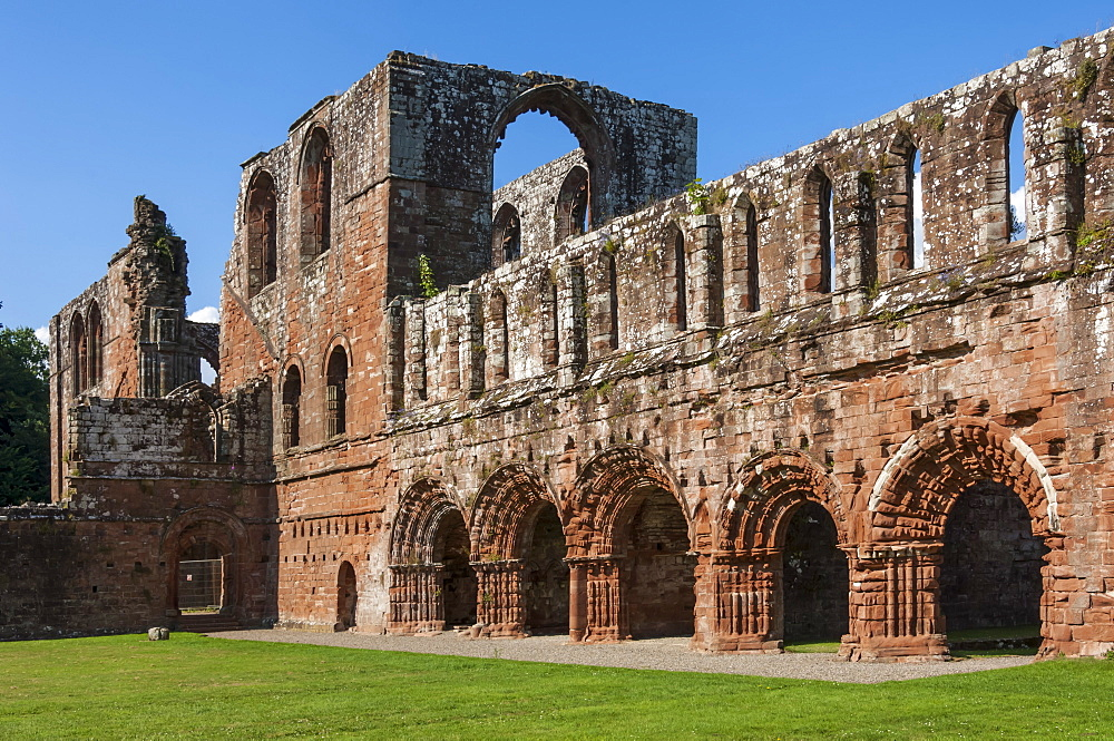 Elaborate carved stone arches, 12th century St. Mary of Furness Cistercian Abbey, Cumbria, England, United Kingdom, Europe