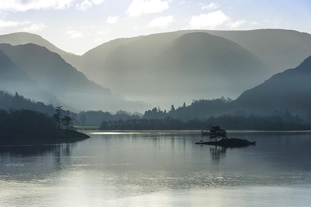 Little Island, Head of the Lake in November, Lake Ullswater, District National Park, Cumbria, England, United Kingdom, Europe