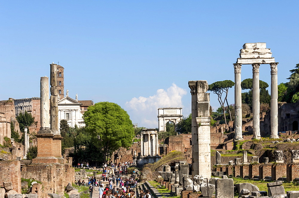 Roman Forum with Temple of Vesta, Arch of Titus, and Temple of Castor and Pollux, UNESCO World Heritage Site, Rome, Lazio, Italy, Europe