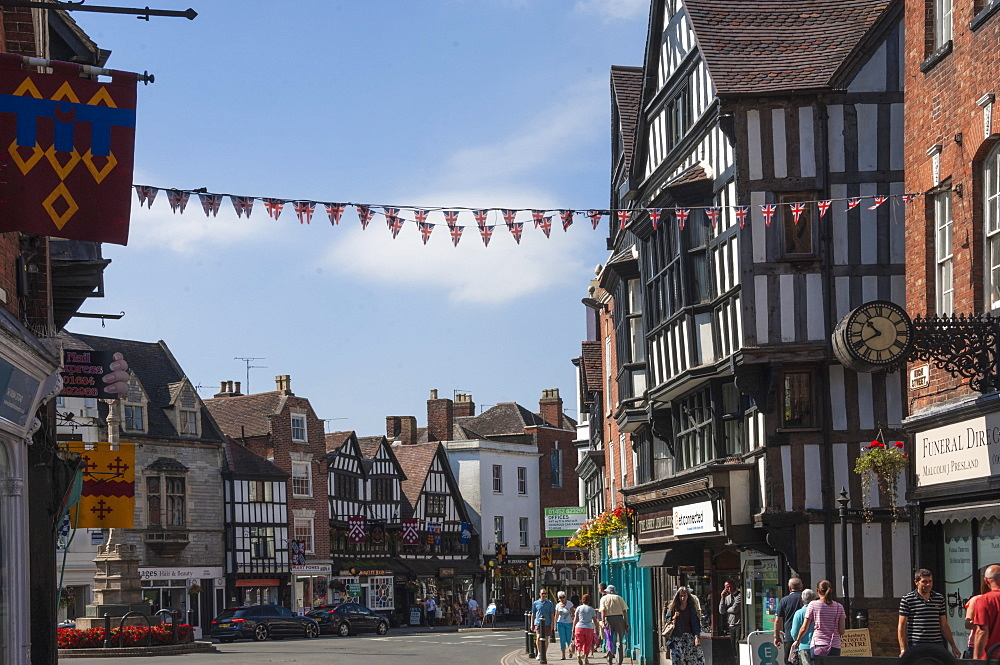 Junction of High Street and Church Street, Tewkesbury, Gloucestershire, England, United Kingdom, Europe
