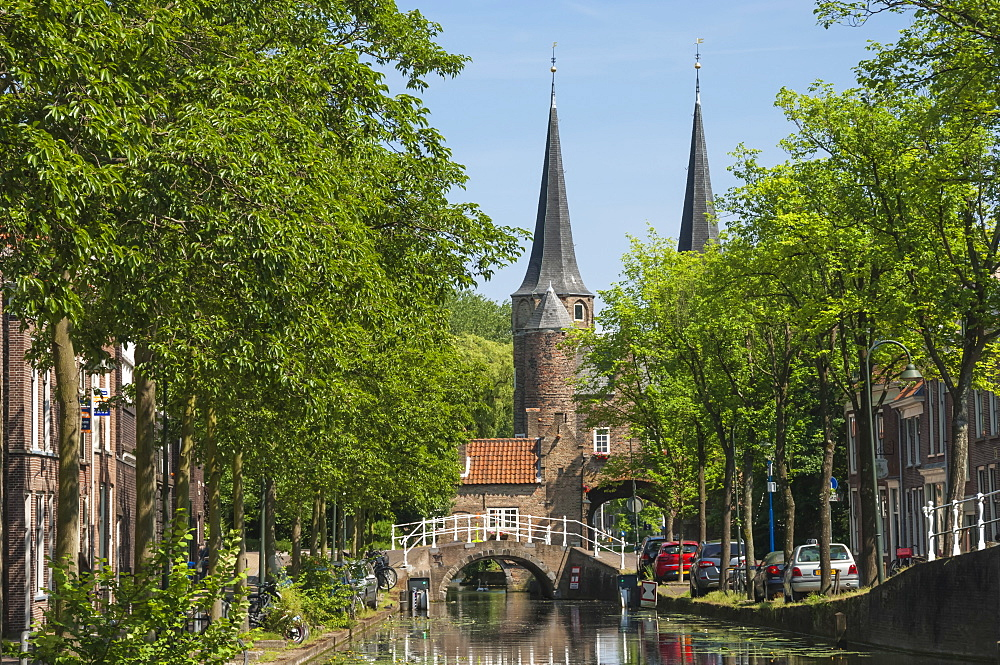 Canal scene with bridge, Delft, Holland, Europe