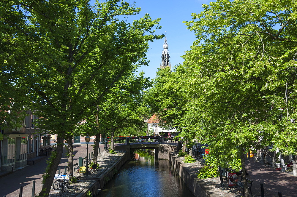 Canal scene in Edam, Holland, Europe