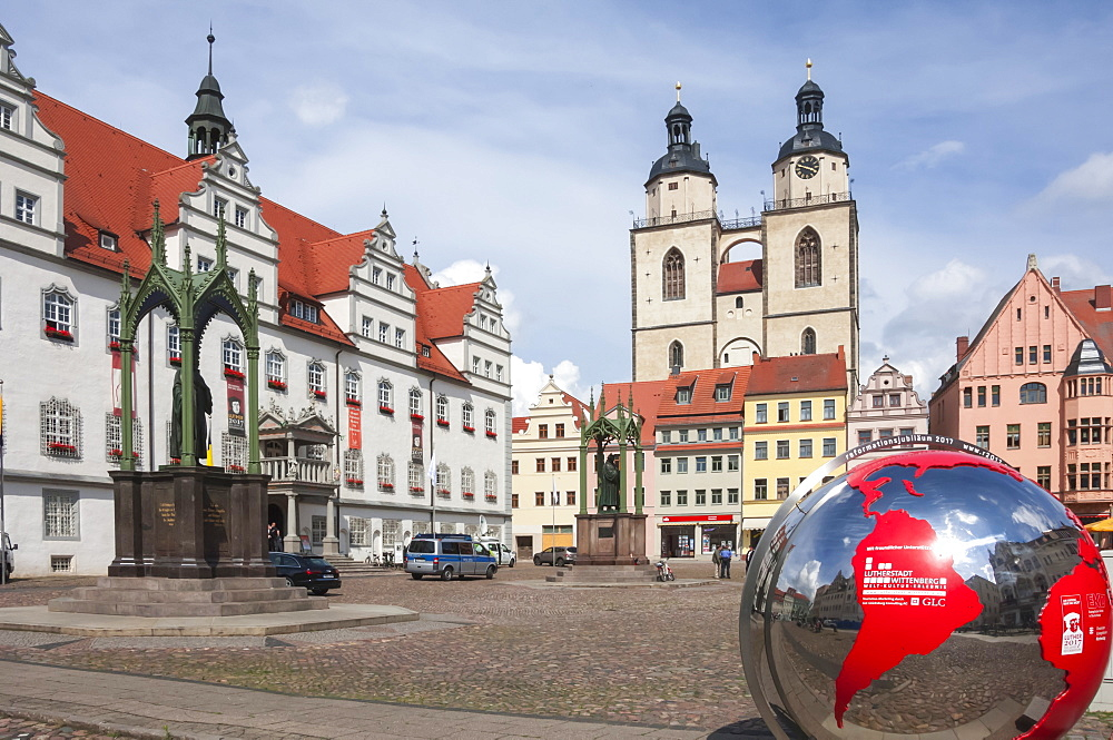 Town Square with Stadtkirke and Town Hall, Lutherstadt Wittenberg, Saxony-Anhalt, Germany, Europe