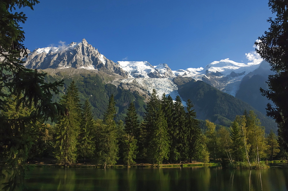Aiguile du Midi and Mont Blanc, 4809m, and the Glaciers, from the Lake, Chamonix, Haute Savoie, French Alps, France, Europe - 747-1824
