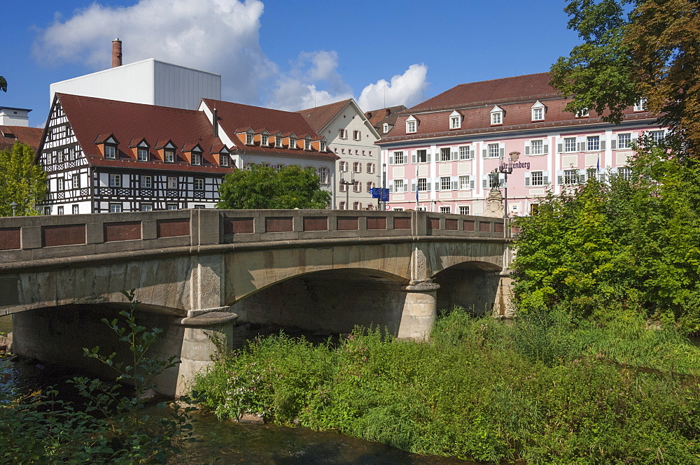Donau Bridge, crossing the River Danube, Donauschingen (Donaueschingen), Black Forest, Baden-Wurttemberg, Germany, Europe - 747-1831