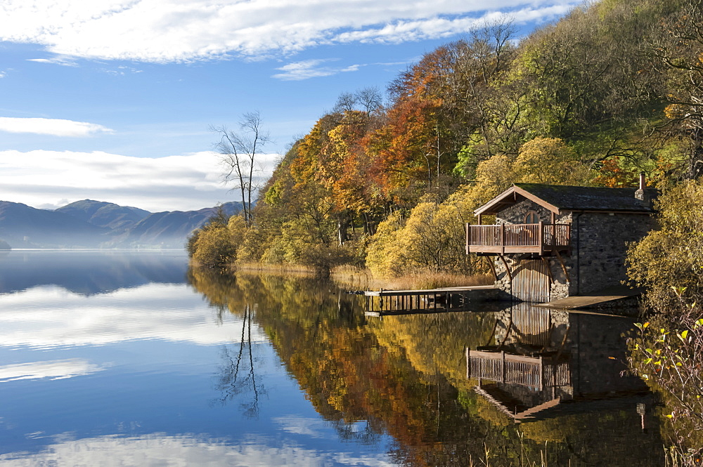 Boathouse and reflections, Lake Ullswater, Lake District National Park, Cumbria, England, United Kingdom, Europe - 747-1847