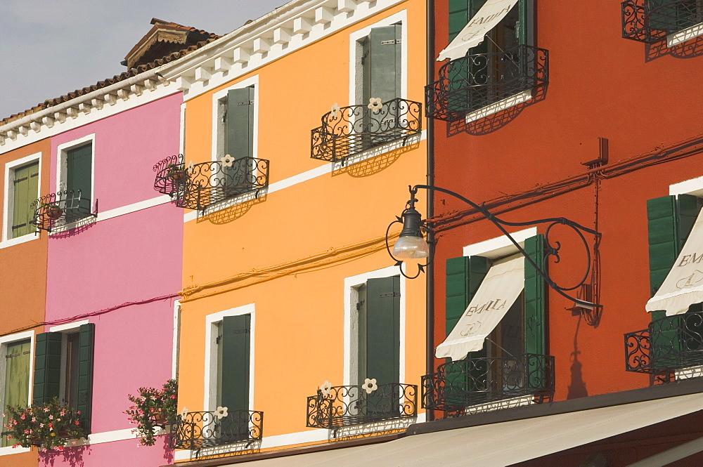 Coloured house fronts with windowboxes, Burano, Venetian lagoon, Veneto, Italy, Europe