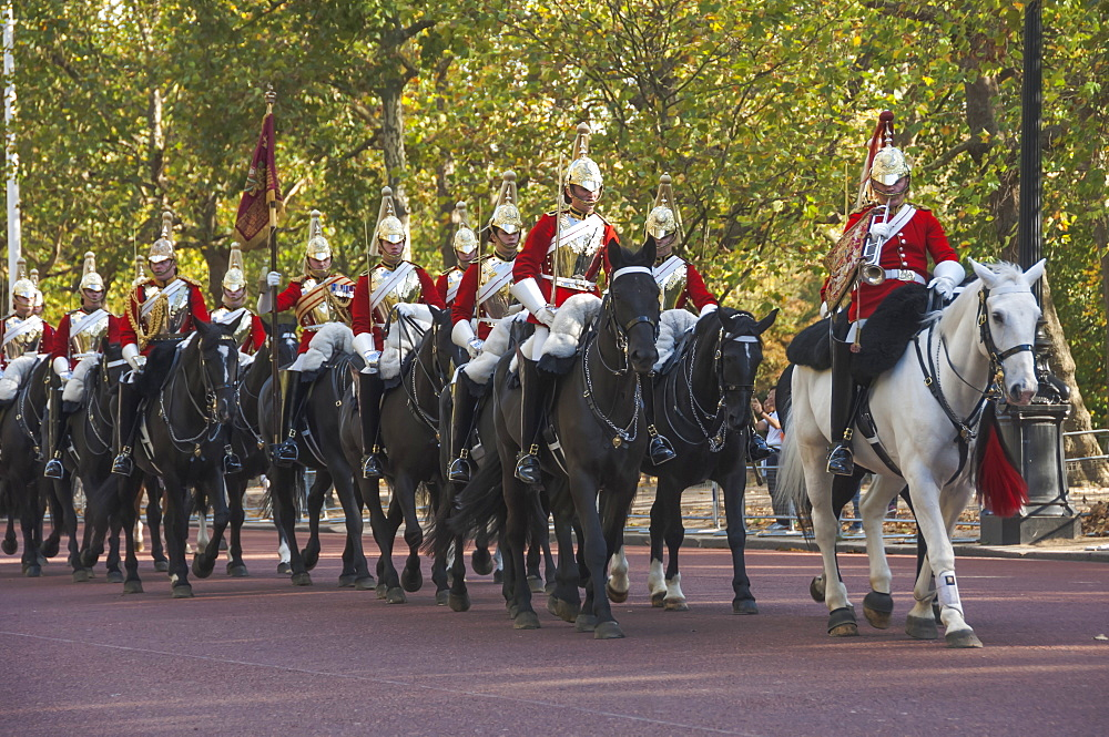 Mounted Guardsmen in the Mall, London, England, United Kingdom, Europe