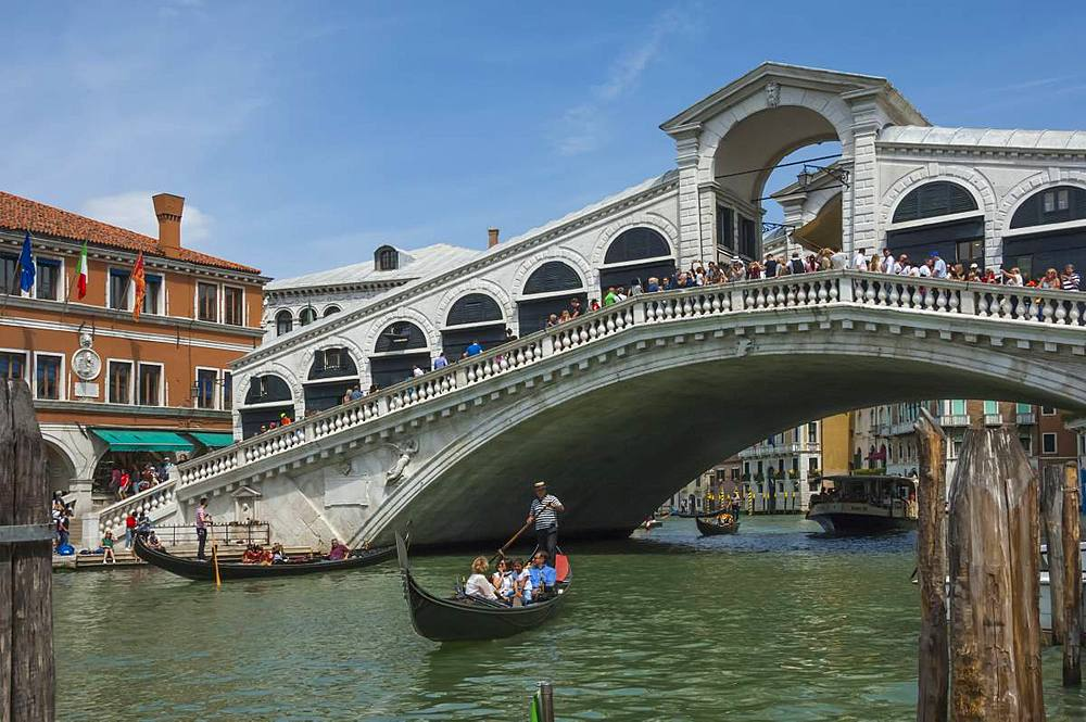 Rialto Bridge and gondolas on the Grand Canal, Venice, UNESCO World Heritage Site, Veneto, Italy, Europe