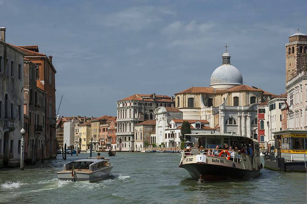 Water bus and taxi, Grand Canal at Marcuola, Venice, UNESCO World Heritage Site, Veneto, Italy, Europe - 747-1910