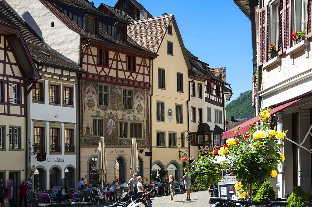 Traditional architecture, Street scene, Stein am Rhein, Canton of Schaffhausen, Switzerland, Europe - 747-1931