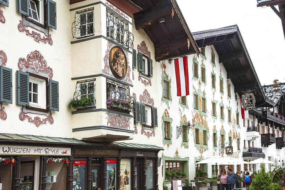 Traditional architecture with mural and wall decoration, St. Johann in Tyrol, Austria, Europe - 747-1952