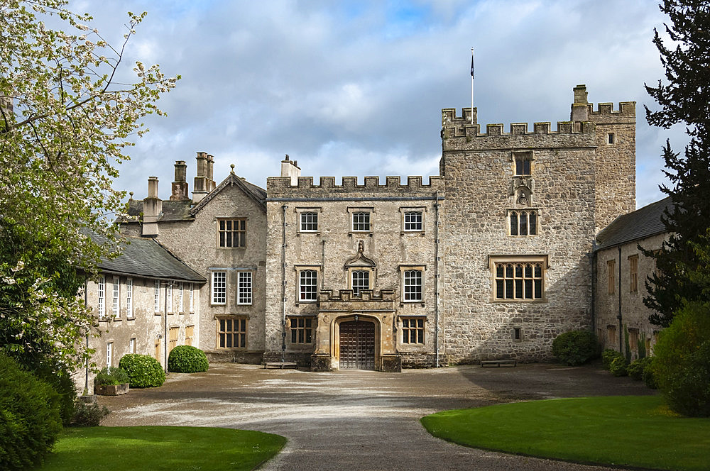 Sizergh Castle Courtyard, near Kendal, Cumbria, England, United Kingdom, Europe