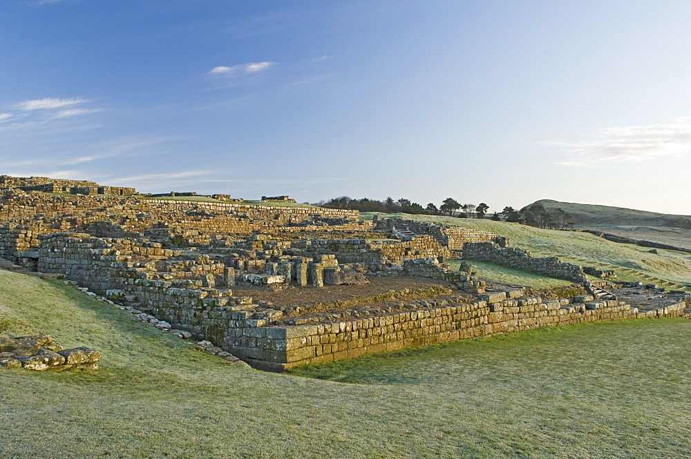 Part of Housesteads Roman Fort looking east, Hadrians Wall, UNESCO World Heritage Site, Northumbria, England, United Kingdom, Europe