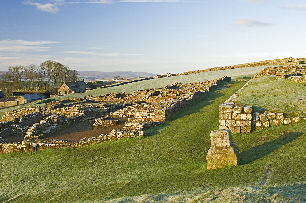 Part of Housesteads Roman Fort looking west, Hadrians Wall, UNESCO World Heritage Site, Northumbria, England, United Kingdom, Europe