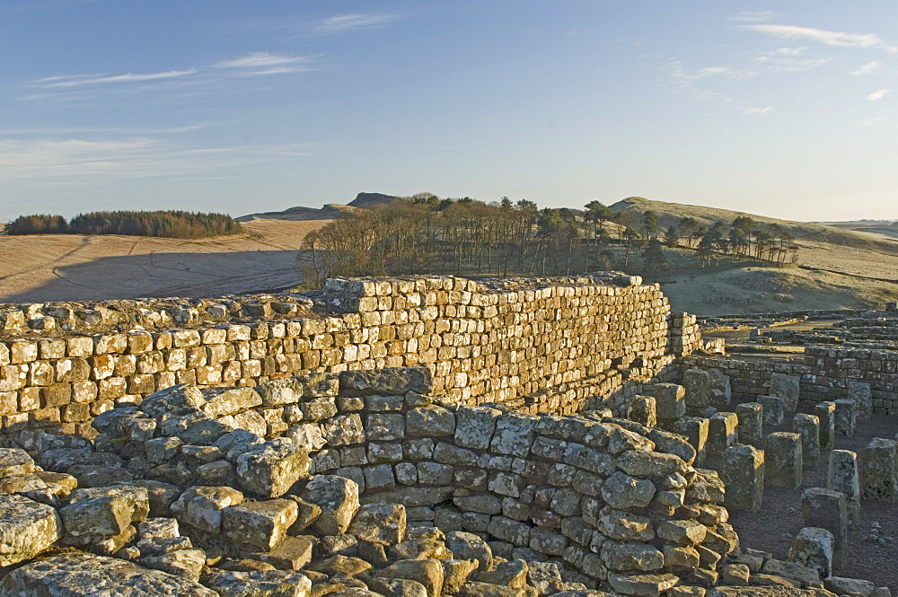 Detail of the furnace and granary floor, Housesteads Roman Fort, looking east, Hadrians Wall, UNESCO World Heritage Site, Northumbria, England, United Kingdom, Europe