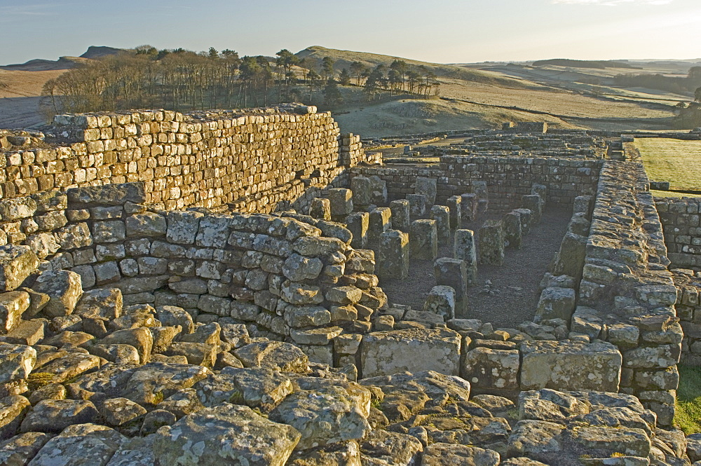 Granary showing supports for ventilated floor and circular furnace to provide heated air underfloor, Housesteads Roman Fort, Hadrians Wall, UNESCO World Heritage Site, Northumbria, England, United Kingdom, Europe