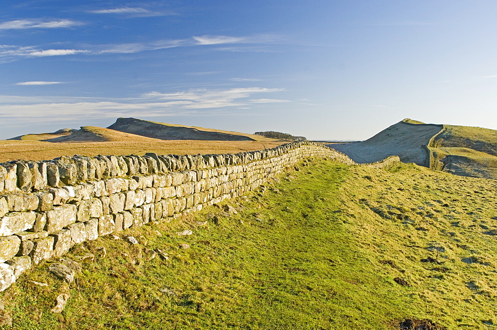 Looking east to Kings Hill and Sewingshields Crag, Hadrians Wall, UNESCO World Heritage Site, Northumbria, England, United Kingdom, Europe