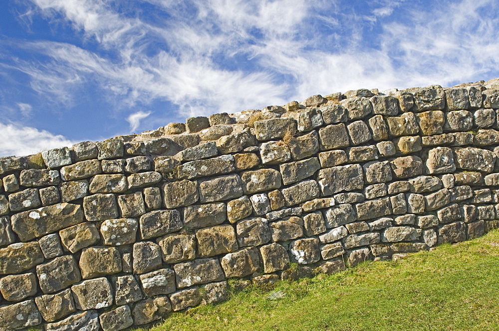 A portion of original Hadrians Wall, chisel marks visible on some stones, Hadrians Wall, UNESCO World Heritage Site, Northumbria, England, United Kingdom, Europe