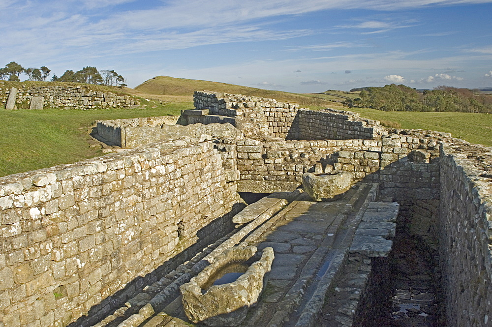 The latrine, Housesteads Roman Fort, Hadrians Wall, UNESCO World Heritage Site, Northumbria, England, United Kingdom, Europe