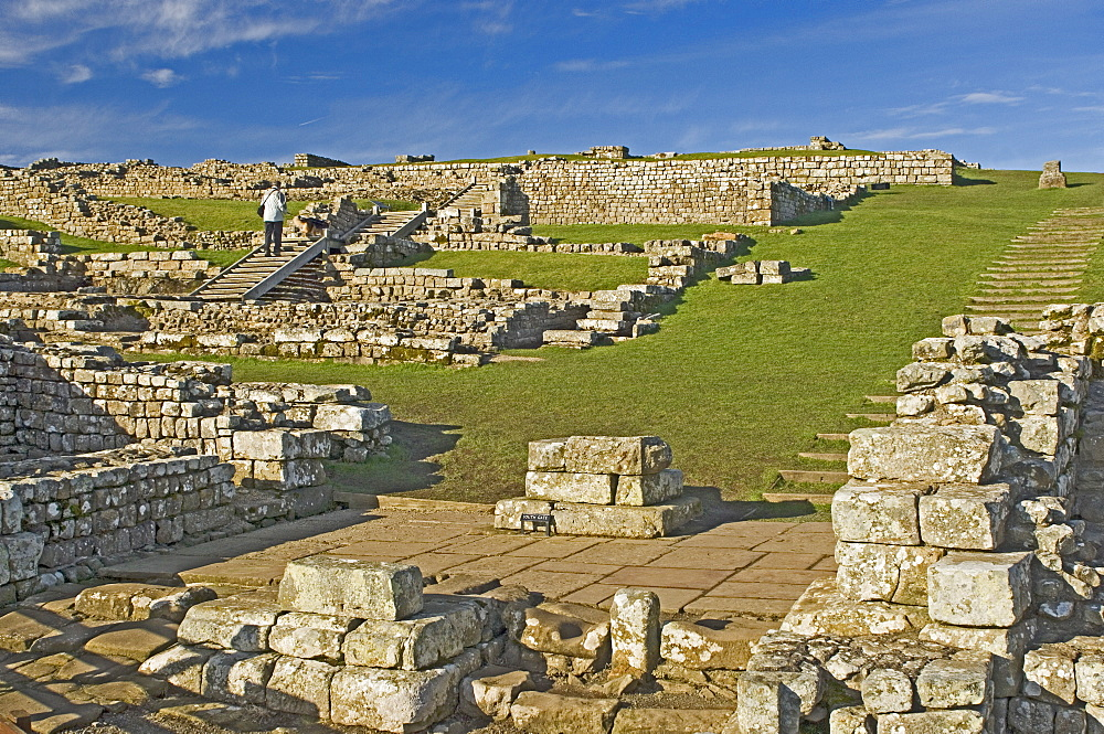 Housesteads Roman Fort from the south gate, Hadrians Wall, UNESCO World Heritage Site, Northumbria, England, United Kingdom, Europe